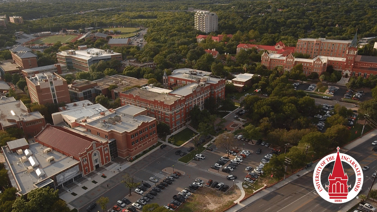 aerial view of campus zoom background
