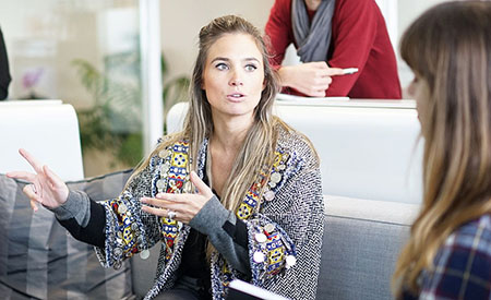 stock image woman in meeting