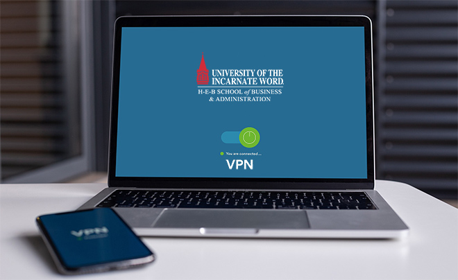 stock photo laptop with uiw logo