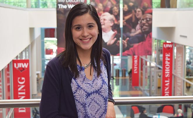 Claudia Zapata in UIW Student Center