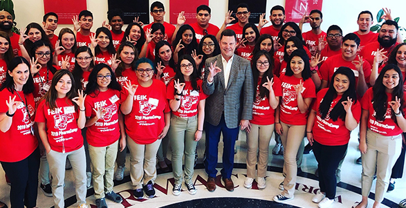 Campers from the Rio Grande Valley join Dr. David Maize, dean at the UIW Feik School of Pharmacy, at the inaugural PharmCAMP 2019