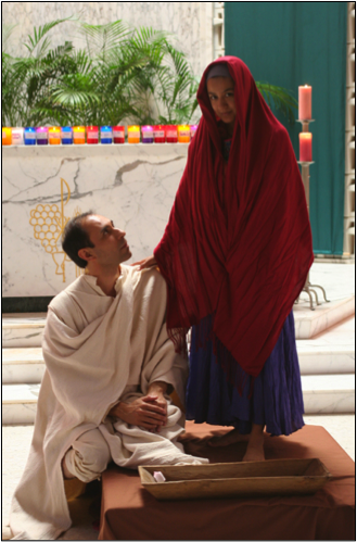 Jose Ruben De Leon as Juan Diego and Amalia Ortiz as Our Lady of Guadalupe at UIW